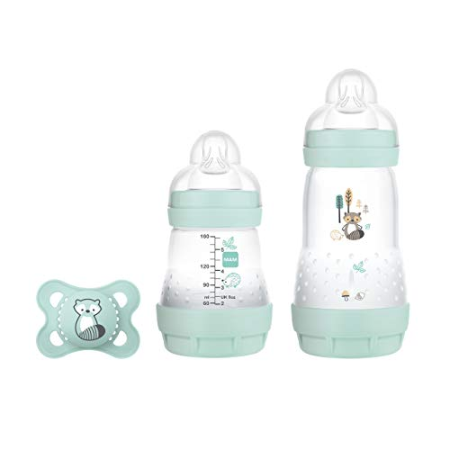 MAM Easy Start Anti-Colic Elements Starter Set S, Baby Erstausstattung mit 2 Anti-Colic Flaschen (160 ml & 260 ml) inkl Sauger Größe 1 und Schnuller, Baby Geschenk Set, ab der Geburt, Waschbär
