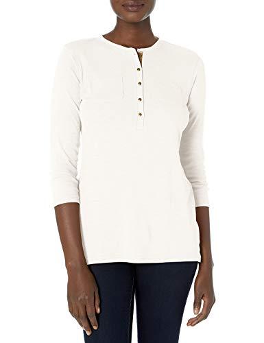 Chaps Women's 3/4 Sleeve Crewneck Henley Shirt, White, M