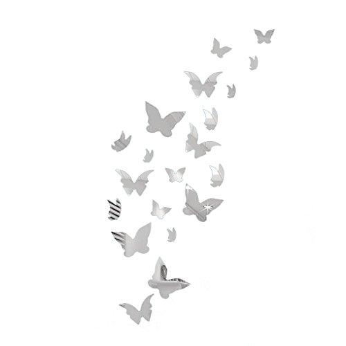 Zerama 20pcs 3D-Schmetterlings-Wand-Aufkleber DIY Dekoration Home Art Aufkleber Spiegel-Wand-Aufkleber