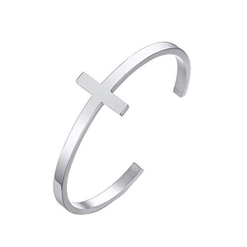 Fahou Edelstahl Kreuz Armband Christian DIY Gravur Zitat Religiöse Manschette Armreif Bibel Vers Christlicher Schmuck Geschenk
