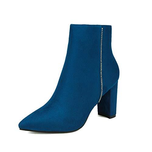 DREAM PAIRS Damen Sianna-5 Mode Spitz Stiefeletten mit Hoher Blockabsatz königsblau Größe 6.5 M US / 37.5 EU