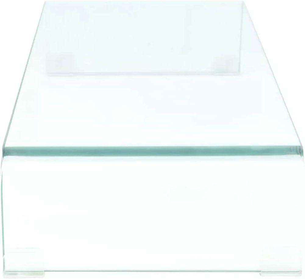 vidaXL TV Stand Monitor Riser Clear Glass 15.7