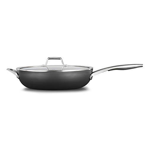 Calphalon Premier Hard-Anodized Nonstick 13-Inch Deep Skillet With Cover, Black