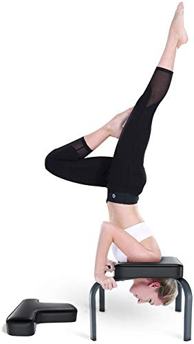 YOLEO Tabouret d'inversion Chaise d'inversion de Yoga pour la Séance d'entraînement, de Fitness et de Gymnastique, Appui de Tabouret avec Coussins en PVC pour la Gymnastique Familiale, Noir