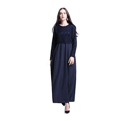 Hanomes Muslimische Damen Kleider, 2019 Muslim Kleidung Frauen,islamisch Robes Arabien Maxi Kleid Trompetenärmel Türkei Kirche Ethnische Kleidung Kaftan Apparel Abaya Mädchen Verschleiß Ramadan
