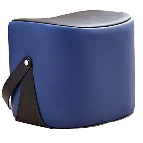 GCP Cuero Pouf Otomano,Usar-Resistente Lujo Creativo Cuero Escabel Tapizado Anti-resbalón Banquito-Azul 48x38x42cm(19x15x17inch)