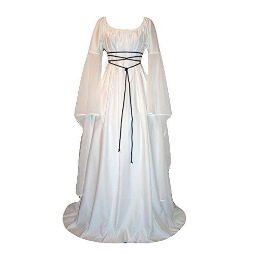Zimuuy Damen Kleider Karneval Kostüm Mittelalter Kostüm Luxuriös Mittelalterlichen Adels Palast Prinzessin Kleid Plus Größe Renaissance Langarm Verband Lang Partykleid Partykleid (Weiß, S)