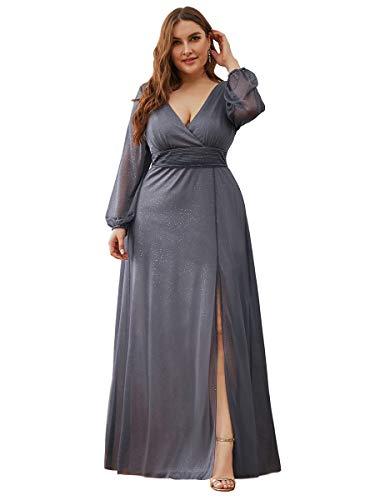 Ever-Pretty Vestiti da Damigella Linea ad A Scollo a V Taglie Forti Manica Lunga Elegante Stile Impero Donna Brillantini Grigio 48