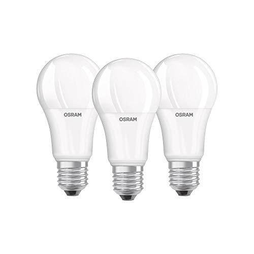 Osram LED Base Classic A Lampe, in Kolbenform mit E27-Sockel, nicht dimmbar, Ersetzt 100 Watt, Matt, Kaltweiß - 4000 Kelvin, 3er-Pack