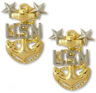 Navy Master Chief E9 Collar Device Rank Insignia Pair