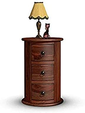 Cherry Wood Sheesham Wood Glossy Finish Round Dressers and Chests of Drawers for Storage (Brown)