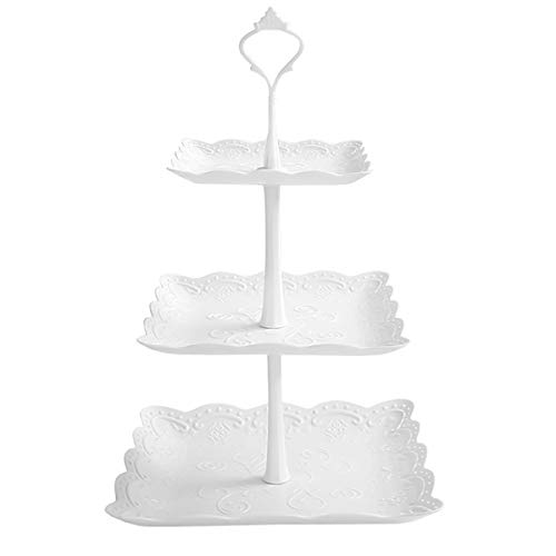 Jinlaili 3 Etagen Teller Weiß Tortenständer Kuchenständer, Cupcake Ständer Muffin Ständer Käseplatte Cupcake Dessert Ständer für Hochzeit Party Geburtstag Baby Duschen Kuchen Dessert Torten Etagere