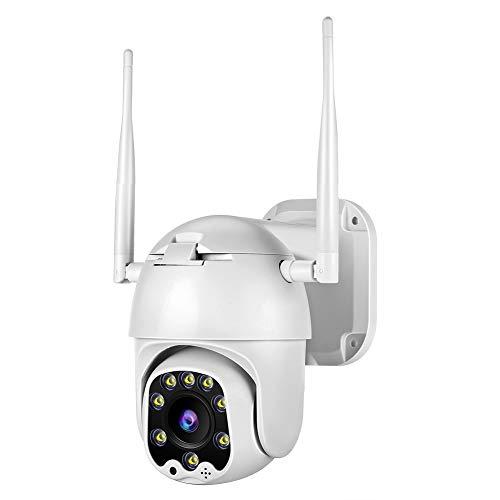 TOMLOV - Telecamera di sorveglianza esterna WiFi 1080p, zoom digitale, panoramica, inclinazione 4x, obiettivo fisso da 3,6 mm, fotocamera di sorveglianza 2MP HD Android / iOS