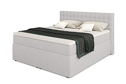 Betten Jumbo King Boxspringbett 180x200 cm 7-Zonen TFK Härtegrad H2 und Visco-Topper | Farbe Kunstleder weiß | div. Größen verfügbar