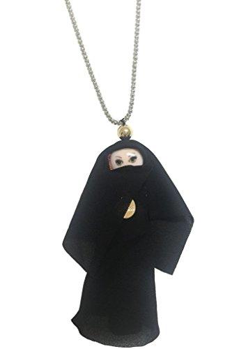 Puppen-Halskette mit spanischem Kleid, Gesicht aus Kunstharz, handgefertigt