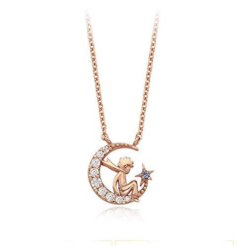 SHUX Halskette 925 Silver Moon Rose Halskette Female Forest Clavicle Chain Anhänger, Little Prince Roségold