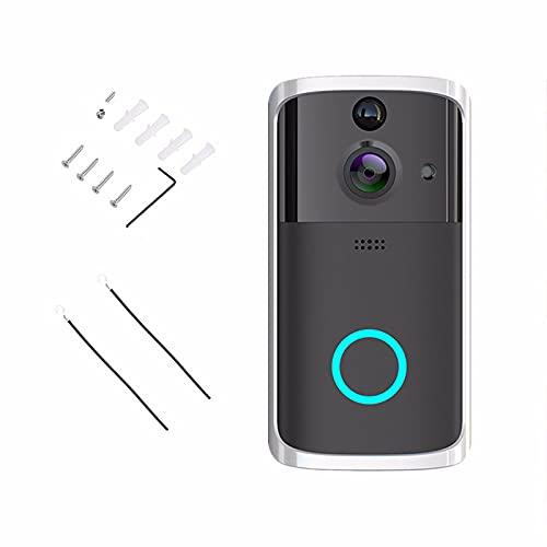 JiaHang VíDeo HD 720p con ComunicacióN Bidireccional, Video Doorbell AplicacióN ConversacióN Remota Audio Altavoz VisióN Nocturna por Infrarrojos para Una FáCil InstalacióN For iOS & Android