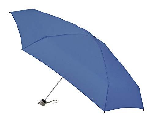 Vogue Micromini Regenschirm Wiegt nur 180 Gramm. Maße geschlossen: 17 cm. Schutzhülle im Anorak-Stil. Sonnenschutz +50, Winddicht und Teflon-Finish Blau blau 17 cm