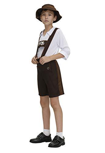 Haorugut Kids Oktoberfest Costume Bavarian Little Lederhosen Role Play German Beer Dress Up for Boys Girls 2XL Brown