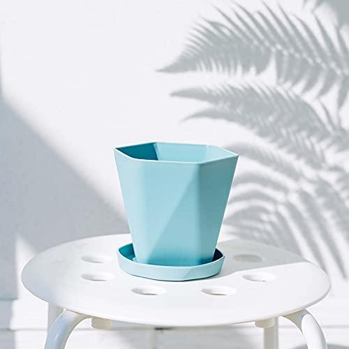 MikeyBee 3 jarrón geométrico sencillo nórdico con bandeja, decoración del hogar, resina con forma de diamante y jardín suculento (azul cielo, pequeño)