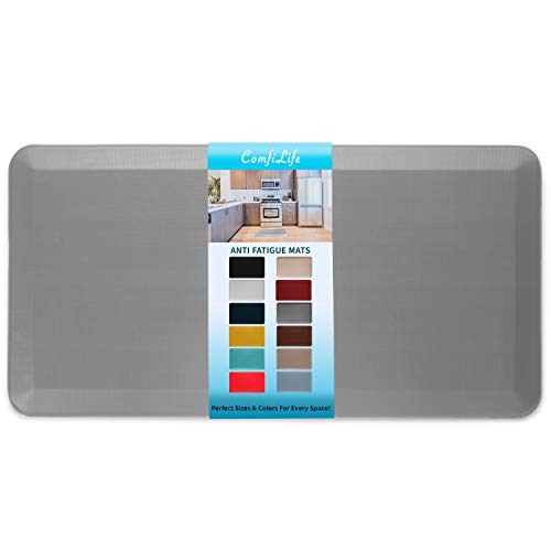 """ComfiLife Anti Fatigue Floor Mat – 3/4 Inch Thick Perfect Kitchen Mat, Standing Desk Mat – Comfort at Home, Office, Garage – Durable – Stain Resistant – Non-Slip Bottom (20"""" x 39"""", Gray)"""
