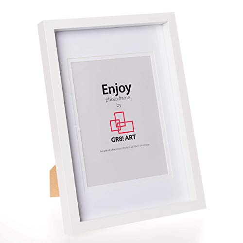 """GR8! Art Enjoy - A4 White Photo Frame with mount for a 8x6"""" image - A4 Photo Frame White (2cm deep) - Made of MDF - Photo Box Design with Stylish Double Mount."""