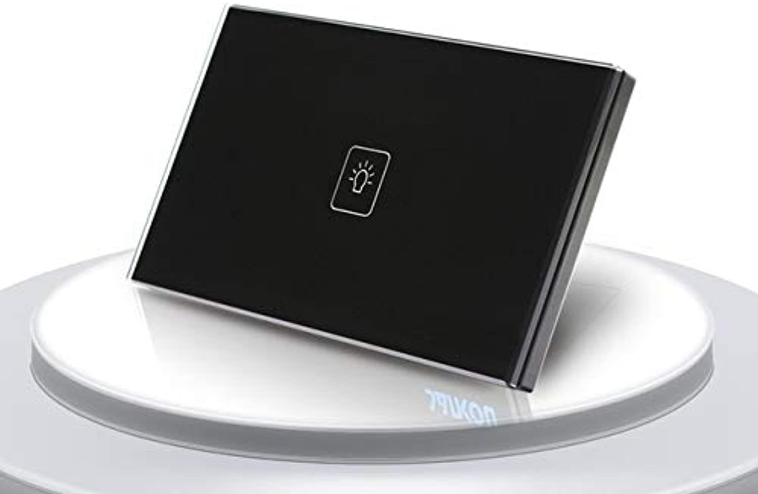 US Standard Light Switch Wall Switch Touch Switch 1 Gang 2 Way White Crystal Glass Panel, Wall Socket for Lamp - (color  Black 1 Gang 2 Way)