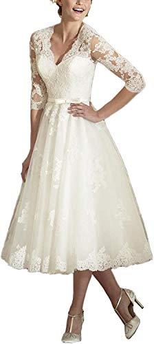 Brautkleider Spitzen A-Linie Hochzeitskleid Kurz Prinzessin Brautmode Langarm Standesamt Vintage Brautkleid Elfenbein 58