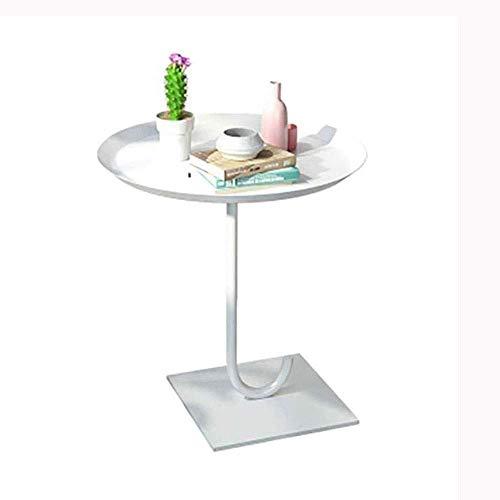 FTFTO Productos para el hogar Esquinas de Mesa de té pequeñas de Hierro Simple nórdico Mesa Redonda Sala de Estar Mini sofá Mesa Auxiliar (Color: Blanco Tamaño: 55 cm)