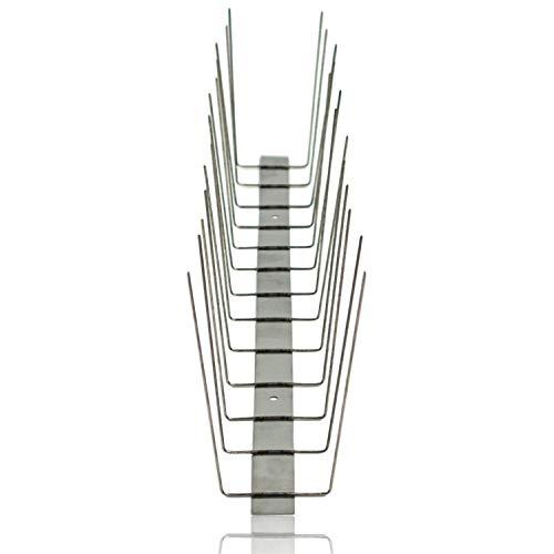 Edelstahl Taubenabwehr 2 reihig auf Edelstahlleiste, Taubenspikes Gesamtlänge 3 Meter, 6 Stück á 0,50 cm, Taubenschutz/Vogelabwehr Spikes für Balkon, Fensterbank, Dachrinne, Dachfirst, Geländer