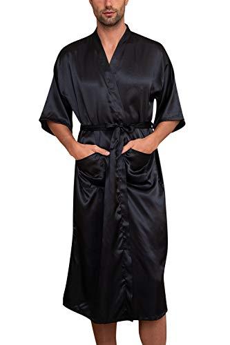 YAOMEI Unisexo Albornoz para Hombre Mujer Vestido Batas y Kimonos Satén, Suave y Ligero Satén Camisón Robe Albornoz Ropa de Dormir Pijama con Cinturón y Bolsillos (XL, Negro)