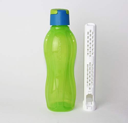 Tupperware EcoEasy to Go Trinkflasche 750ml Grün/Türkis + Eiswürfel + Geschenk Mini Trichter
