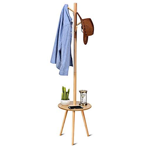 COSTWAY Garderobenständer Holz, Jackenständer Kleiderständer Garderobe, mit Ablage, mit Haken (Modell 1(40x40x161,5cm))