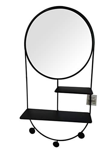 Meubletmoi Miroir Rond Murale avec étagères et patères en métal Noir - Design Contemporain Industriel - MIROR