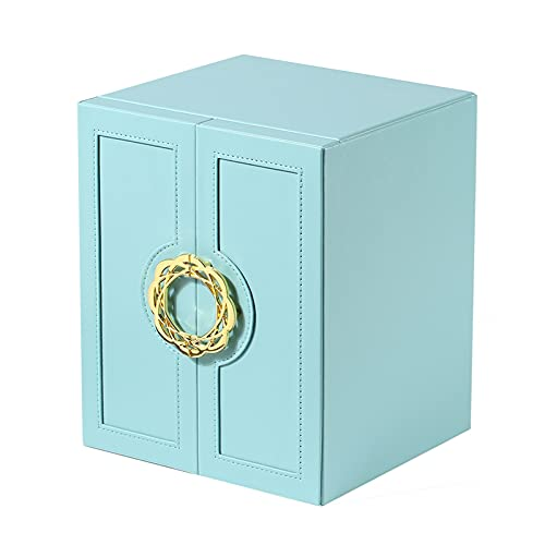 XIAOXIAO Organizador De Caja De Joyería Diseño De Puerta De Doble Apertura Y Cajón De 5 Capas Vitrina De Almacenamiento De Joyas para Collar De Anillos Y Pendientes Cuero PU (Color : Blue)