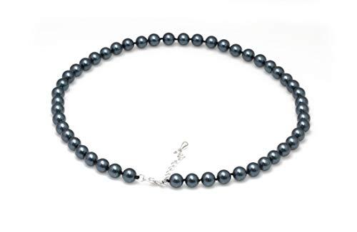 Schmuckwilly Muschelkernperlen Perlenkette Perlen Collier - dunkel blau schwarz Hochwertige Damen Muschelkernperlen Kette aus echter Muschel 45cm 8mm mk8mm102-45