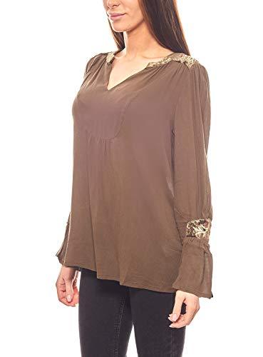 Aniston lockere Shirt Damen Bluse mit Stickereien Tunika Oliv, Größenauswahl:34