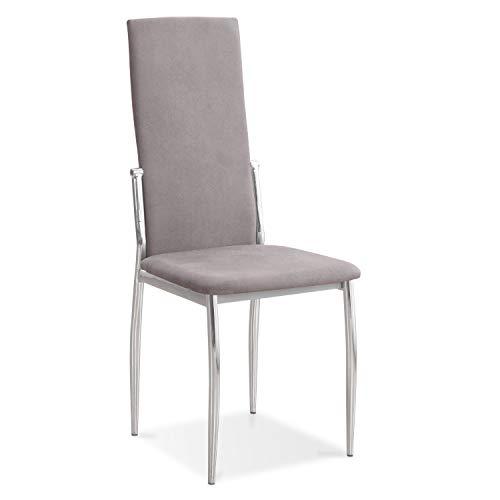HomeSouth - Pack 6 sillas de Comedor, salón o Cocina, Silla Acabado en Tela Jarama Color Marengo, Modelo Sakura, Medidas: 43 cm (Ancho) x 53 cm (Fondo) x 110 cm (Alto)