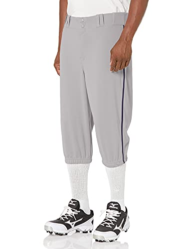 CHAMPRO Triple Crown Knicker Style Baseball Pants with Contrast-Color Braid Piping and Reinforced Sliding Areas, GREY, NAVY PIPE