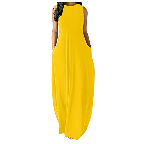 Tavorpt Dress for Women Casual Summer Plus Size Solid Sleeveless O-Neck Dress Loose Long Maxi Party Dress with Pockets Yellow