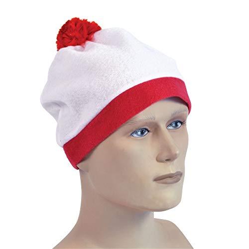 Bobble Hat. White + Red Pom Pom