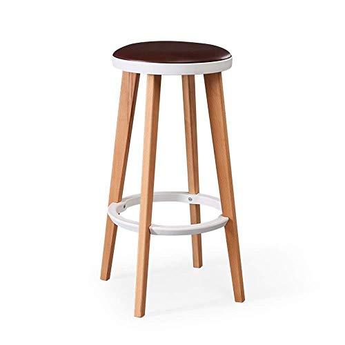 AGLZWY barkruk zonder rugleuning, werkstoel, moderne voetensteun, frame van massief hout, afneembaar kussen voor keuken, eettafel, bistro, 9 kleuren (kleur: D, afmetingen: 32 x 32 x 68,5 cm) AGLZWX6025r-4 Aglzwx6025r-4