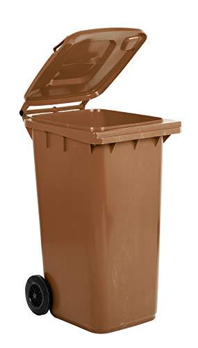 Mobil Plastic Mülltonne, 240 l, für den Außenbereich, Braun (UNI EN 840)