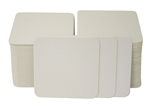 folia 2326 - Blanko Bierdeckel, Bierfilze, eckig, 9,3 x 9,3 cm, 100 Stück - unbedruckt zum Selbstgestalten