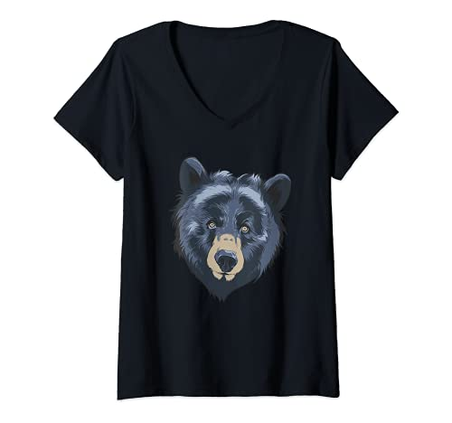 Mujer Oso Negro Cabeza Safari Vida Silvestre Animal Whisperer Zologo Camiseta Cuello V