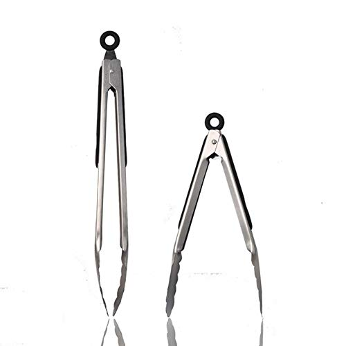 FOOX Kitchen Tongs with Silicone Tips, Tongs Set 2 (9 and 12 Inch), Best Rated Silicone BBQ Tongs, Heavy Duty, Non-Stick Stainless Steel Silicone Tongs for Cooking
