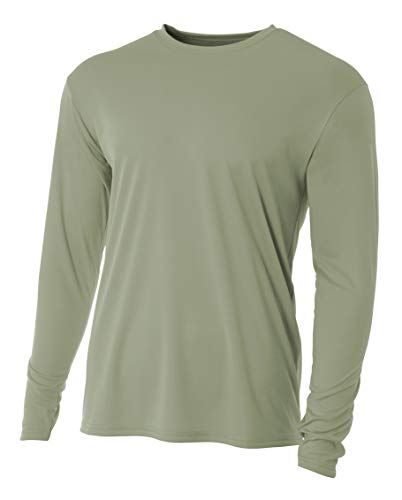 A4 Men's Cooling Performance Long Sleeve Crew, Olive, Large