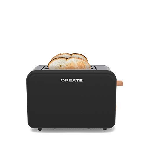 IKOHS Toast Retro -Tostadora de Pan Automática, para Rebanadas Anchas, 850W, Bandeja Recogemigas, Termostato, 6 Niveles de Potencia, Bandeja Recogemigas, Acabados Acero Inoxidable (Negro)