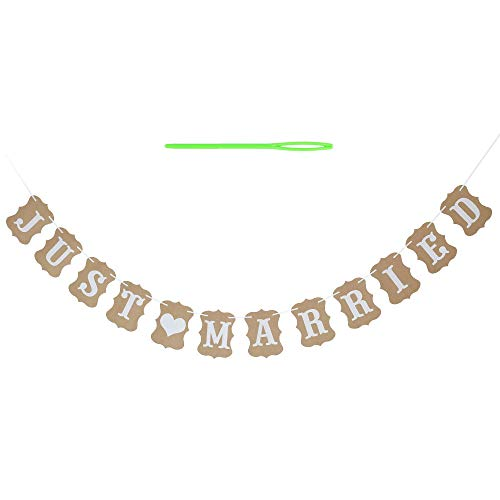 Just Married Banner Wedding Banner Card Hanging Sign Garland Pennant Photo Booth Props for Bridal Shower Wedding Engagement Car Decoration