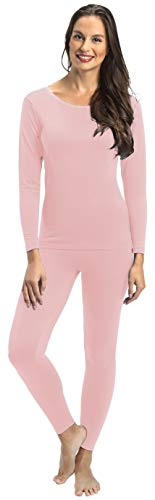 Rocky Thermal Underwear for Women Lightweight Cotton Knit Thermals Women's Base Layer Long John Set (Pink - Lightweight - Large)